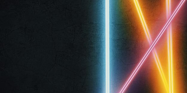 Luce laser multicolore che brilla su un'illustrazione 3d di sfondo in pietra nera
