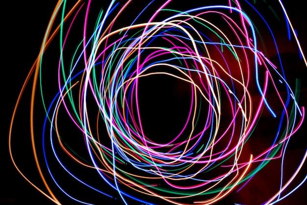 Fotografia di pittura leggera multicolore, immagini colorate di luce di notte