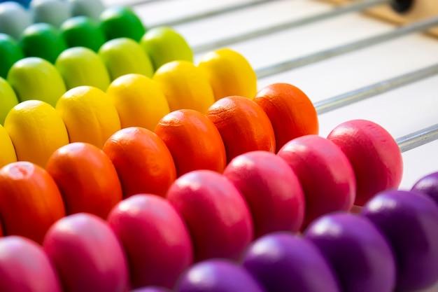 Sfondo di design multicolore. calcolo abaco arcobaleno in legno colorato per il calcolo del numero. chiudere l'abaco in legno su sfondo bianco. concetto di apprendimento della matematica.