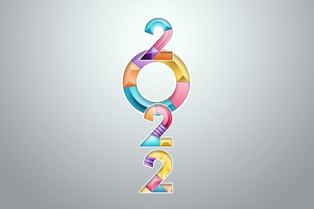 Numeri multicolori 2022 su sfondo chiaro. buon anno. design moderno, modello, intestazione per il sito, poster, biglietto di capodanno, volantino. illustrazione 3d, rendering 3d.