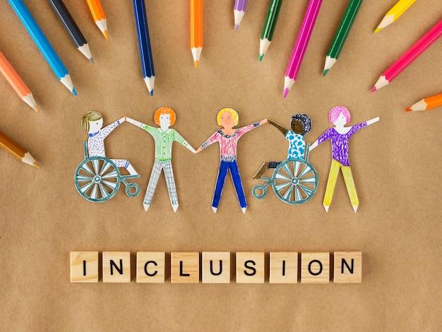 Concetto di inclusione della comunità di persone multietniche e disabili