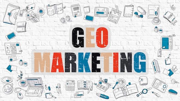 Concetto multicolore - geo marketing - sul muro di mattoni bianco con icone doodle intorno. illustrazione moderna con stile di disegno di doodle.