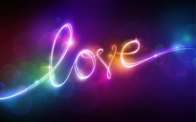 Luce al neon multicolore di scritte d'amore