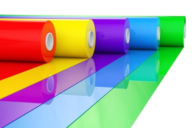 Rotoli o fogli di nastro in plastica politene pvc multicolori su sfondo bianco. rendering 3d.