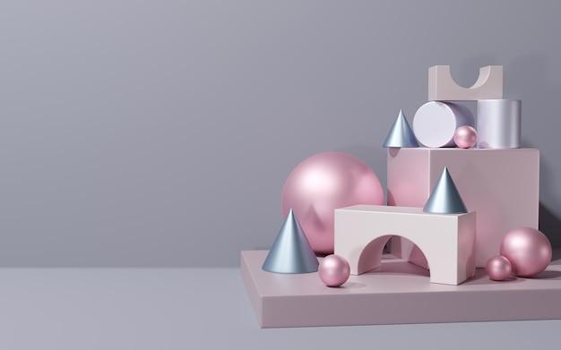 Forme geometriche multicolori sul podio, rendering 3d
