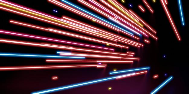 Luce laser multicolore luce neon su uno sfondo nero illustrazione 3d