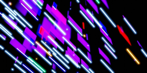 Luce laser multicolore luce neon su sfondo nero 3d illustrazione