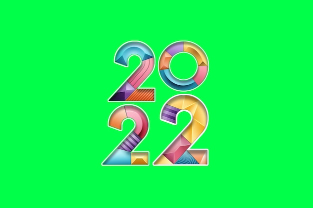 Numeri multicolori e multicolori 2022 su uno sfondo verde, isolare. buon anno. design moderno, modello, intestazione per il sito, poster, biglietto di capodanno, volantino. illustrazione 3d, rendering 3d.