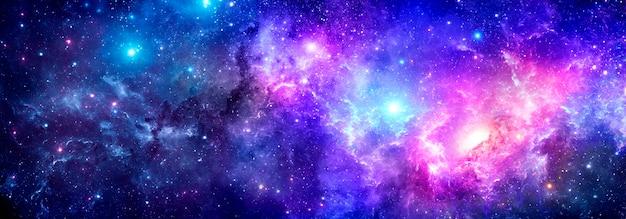 Una nebulosa multicolore di uno sfondo cosmico con polvere di stelle e stelle brillanti.