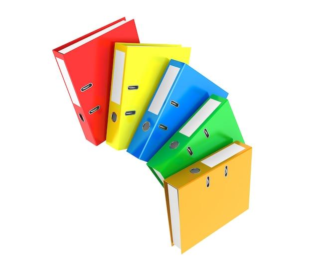 Raccoglitori per ufficio achive multicolore su sfondo bianco