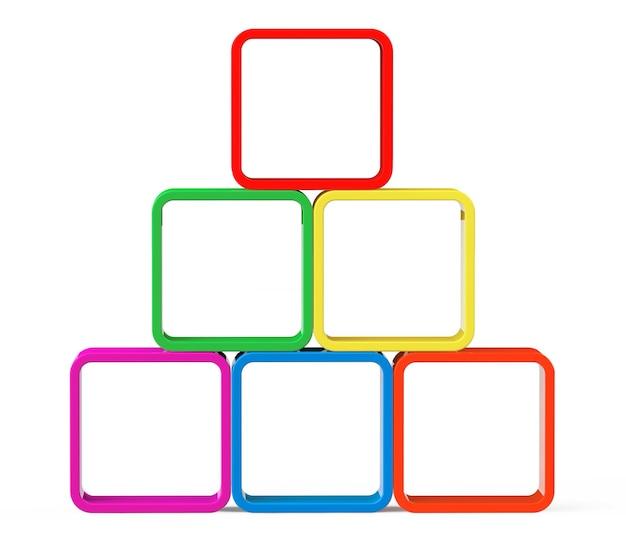 Cubi multicolori come supporto su uno sfondo bianco