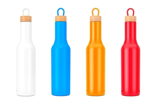 Mockup di bottiglia moderna multicolore con tappo in legno su sfondo bianco. rendering 3d