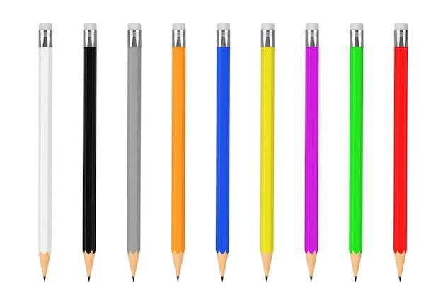Mockup di matite multicolori con spazio vuoto per il tuo design su sfondo bianco. rendering 3d