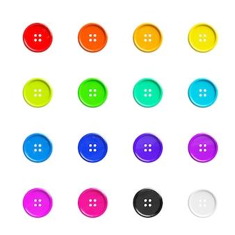 Bottoni da cucire multicolori su sfondo bianco. rendering 3d