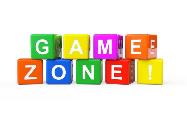 Cubi di alfabeto multicolore con segno di zona di gioco su uno sfondo bianco. rendering 3d