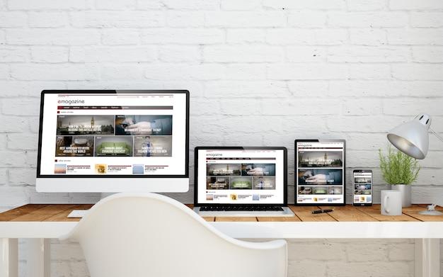 Desktop multidispositivo con sito web di e-magazine sugli schermi. rendering 3d.