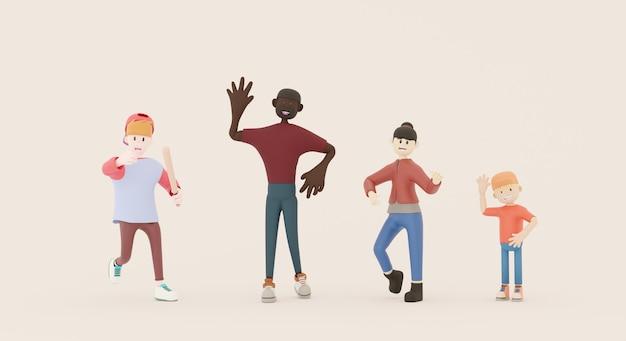 Personaggi di gruppi multietnici di diversa nazionalità. rendering 3d