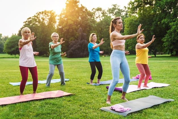 Gruppo multietnico di donne anziane che si allenano al parco con istruttore di fitness - anziani attivi che fanno sport nella natura