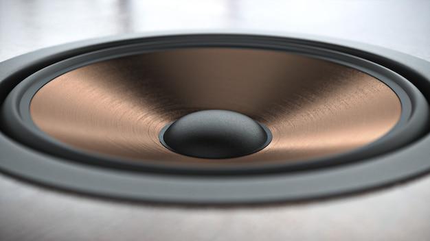 Sistema di altoparlanti con finitura in rame multimediale con diversi altoparlanti in primo piano su sfondo nero. rendering 3d