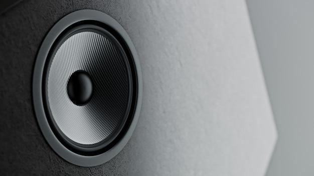 Sistema di altoparlanti in kevlar multimediale con diversi altoparlanti in primo piano su sfondo nero. rendering 3d