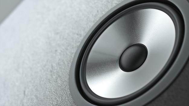 Sistema di altoparlanti multimediali con diversi altoparlanti alzato su sfondo nero. rendering 3d