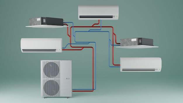 Utilizzo multisistema di diversi tipi di unità interne del condizionatore d'aria 3d render