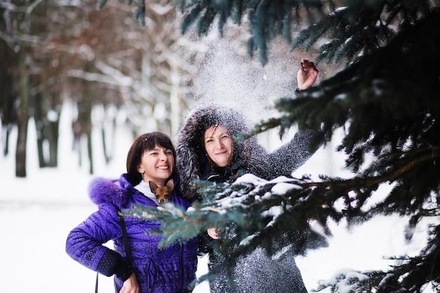Mamma con una figlia e il loro cane che camminano nel parco d'inverno