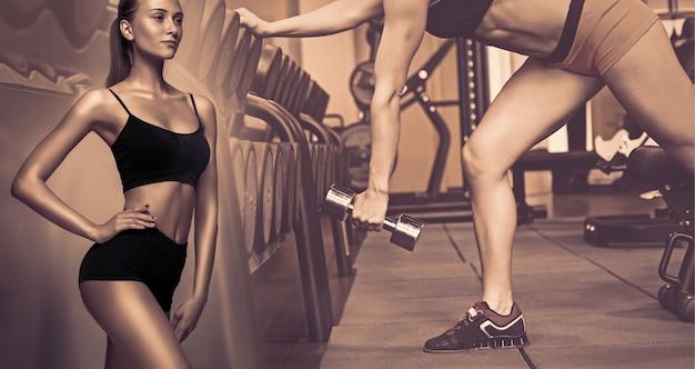 Giovani atleti femminili muscolari, collage creativo. donne caucasiche che si allenano in palestra con i pesi