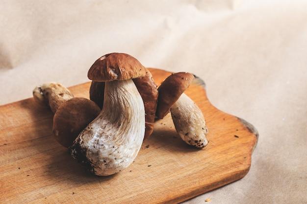 Funghi porcini sul tagliere. boletus edulis