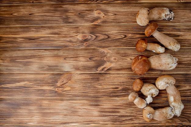 Funghi porcini su legno