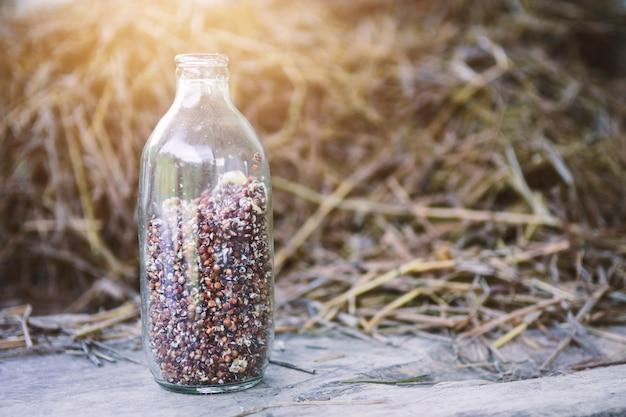 Coltivazione di funghi in bottiglia per la coltivazione di funghi.