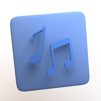 Icona della musica con note musicali isolati su sfondo bianco. app. illustrazione 3d.