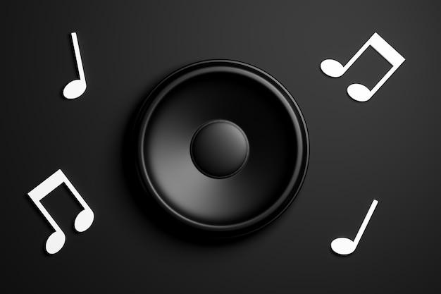 Altoparlanti musicali con testi musicali intorno a loro, su uno sfondo scuro. musica e concetto di suono. rendering 3d.