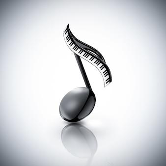 Nota musicale con tasti di pianoforte su sfondo chiaro