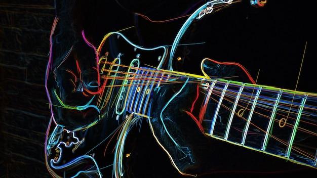 Musicista suona la chitarra. pittura al neon di colore astratto.