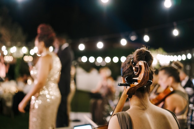 I musicisti stanno suonando alla vista posteriore del matrimonio