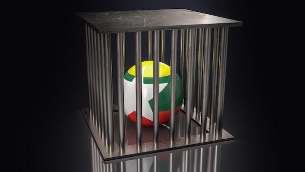 La bandiera del myanmar sulla sfera nella rappresentazione 3d di tono scuro della gabbia
