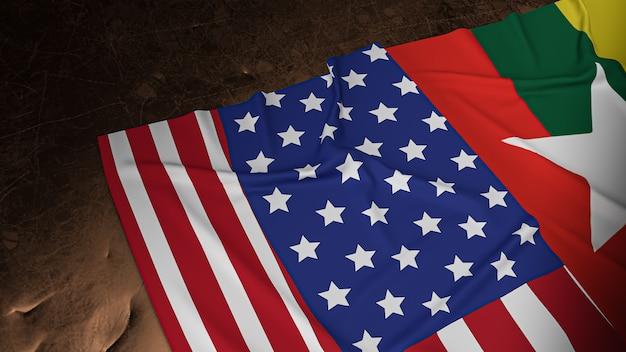 La bandiera del myanmar e la fase unita della bandiera americana rendering 3d
