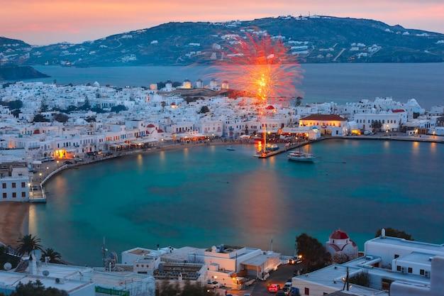 Città di mykonos, chora sull'isola di mykonos, grecia