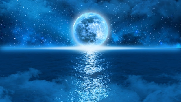 La misteriosa luna blu tocca l'orizzonte sul bordo dell'oceano contro un cielo stellato nella nebbia, illustrazione 3d