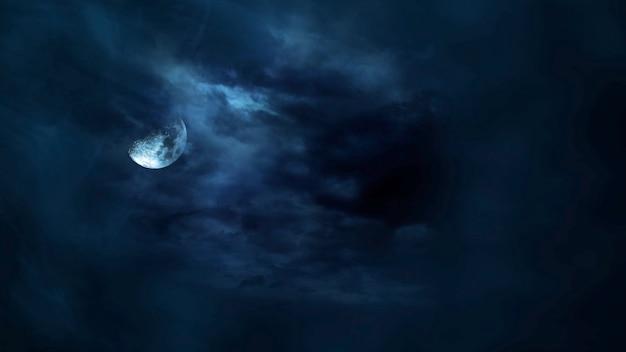 Sfondo mistico di halloween con luna scura e nuvole. sfondo astratto vacanza. illustrazione 3d di lusso ed elegante del tema di halloween