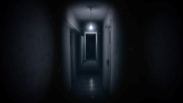 Sfondo mistico horror con corridoio buio della stanza. contesto astratto di halloween di festa. illustrazione 3d di lusso ed elegante del tema di halloween