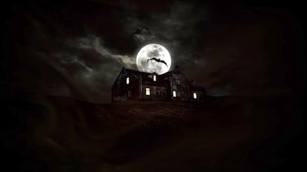 Sfondo mistico horror con la casa e la luna. sfondo astratto felice vacanza. illustrazione 3d di stile lussuoso ed elegante per il modello di vacanza