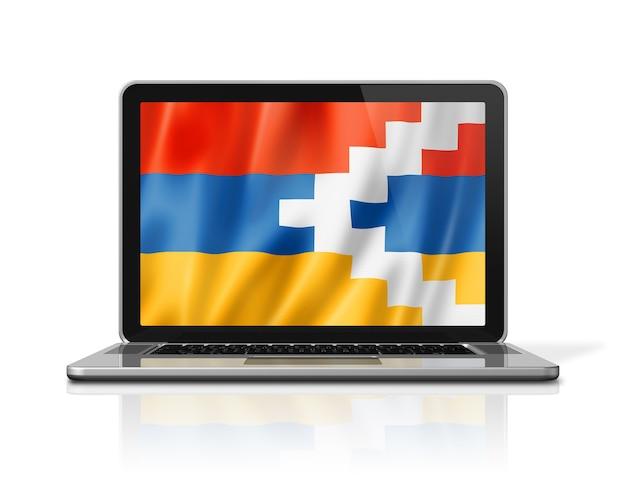 Bandiera del nagorno-karabakh sullo schermo del computer portatile isolato su bianco. rendering di illustrazione 3d.