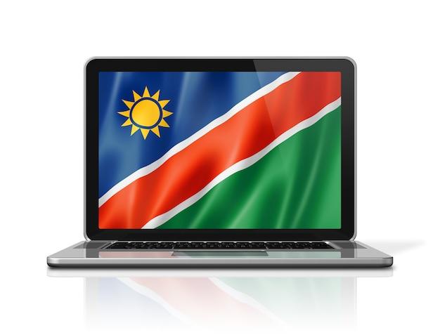 Bandiera della namibia sullo schermo del computer portatile isolato su bianco. rendering di illustrazione 3d.