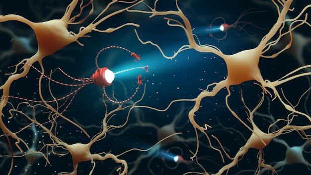 Nanorobot che ispeziona le cellule cerebrali