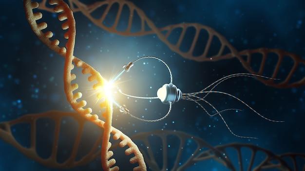 Nanorobot che sostituisce parte di una molecola di dna