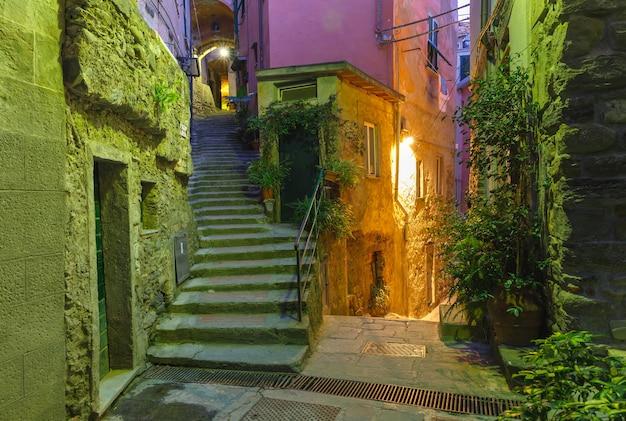 Stretto vicolo buio e scalinata nel centro storico con piante e fiori di notte nel villaggio di pescatori vernazza, cinque terre, parco nazionale delle cinque terre, liguria, italia.