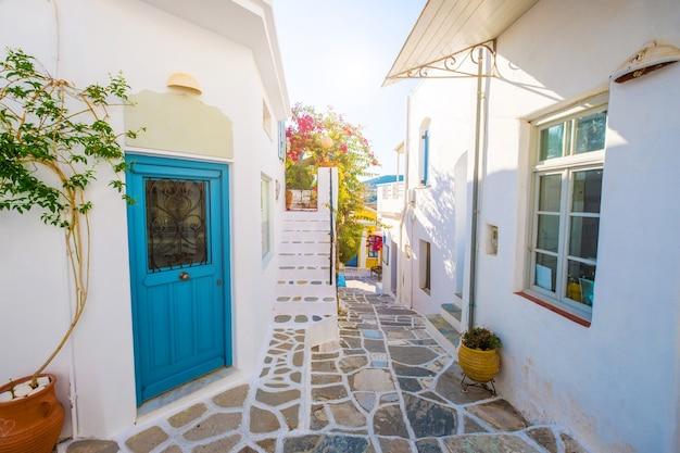 Strada stretta con case in pietra nel villaggio di lefkes
