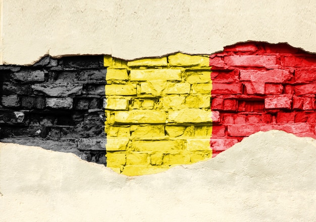 Bandiera nazionale del belgio su uno sfondo di mattoni. muro di mattoni con intonaco parzialmente distrutto, sfondo o texture.